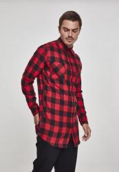 Pánska košeľa URBAN CLASSICS Side-Zip Long Checked Flanell Shirt blk/red