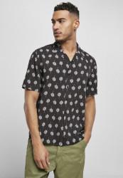 Pánska košeľa Urban Classics Viscose Resort Shirt black blossom