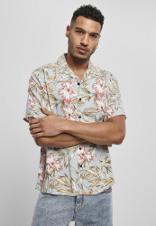 Pánska košeľa Urban Classics Viscose Resort Shirt lightblue hibiscus