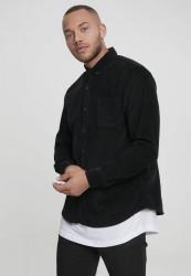 Pánska menčestrová košeľa URBAN CLASSICS Corduroy Shirt čierna