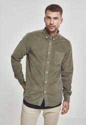 Pánska menčestrová košeľa URBAN CLASSICS Corduroy Shirt olivová