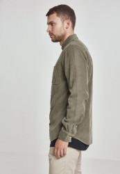 Pánska menčestrová košeľa URBAN CLASSICS Corduroy Shirt olivová #1