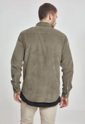 Pánska menčestrová košeľa URBAN CLASSICS Corduroy Shirt olivová #2