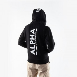 Pánska mikina Alpha Industries Back Print Zip Hoodie black