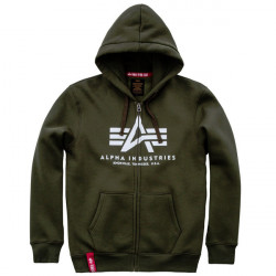 Pánska mikina Alpha Industries Basic Zip Hoody dark green