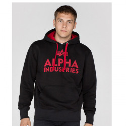 Pánska mikina Alpha Industries Foam Print Hoody Black Red Size: 3XL