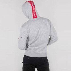 Pánska mikina Alpha Industries Red Stripe Hoody Grey #1