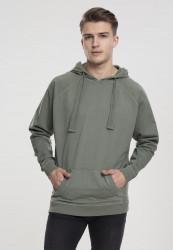 Pánska mikina bez zipsu URBAN CLASSICS Garment Washed Terry Hoody olive