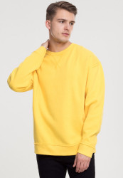Pánska mikina bez zipsu URBAN CLASSICS Oversized Open Edge Crew chrome yellow