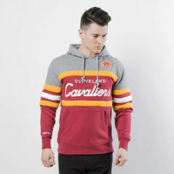 Pánska mikina Mitchell & Ness Cleveland Cavaliers heather grey / burgundy Head Coach Hoody