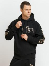 Pánska mikina na zips Amstaff Logo 2.0 Ziphoodie black camouflage Size: 3XL