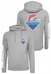 Pánska mikina Pink Dolphin Logo Hoody sivá Farba: heather grey,