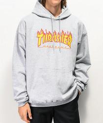 Pánska mikina Thrasher Flame Logo Hoodie grey Farba: Šedá,