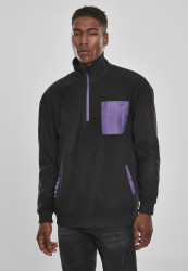 Pánska mikina URBAN CLASSICS Contrast Polar Fleece Troyer black/ultraviolet