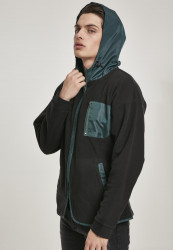 Pánska mikina URBAN CLASSICS Contrast Polar Fleece Zip Hoody black/bottlegreen