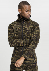 Pánska mikina Urban Classics Interlock Camo Zip Jacket wood camo
