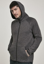 Pánska mikina URBAN CLASSICS Knit Fleece Zip Hoody charcoal