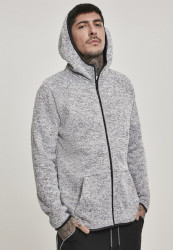 Pánska mikina URBAN CLASSICS Knit Fleece Zip Hoody grey