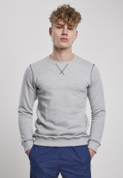 Pánska mikina URBAN CLASSICS Organic Contrast Flatlock Stitched grey