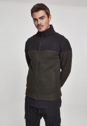 Pánska mikina Urban Classics Oversize 2-Tone Polar Fleece Jacket olive/black