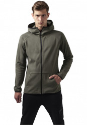 Pánska mikina zips URBAN CLASSICS Athletic High Neck Interlock Zip olive