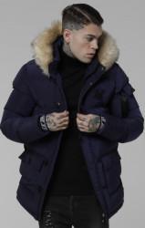 Pánska modrá zimná bunda Sik Silk Shiny