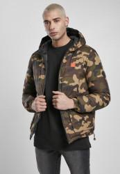 Pánska obojstranná bunda Urban Classics Reversible Hooded Puffer black/woodcamo