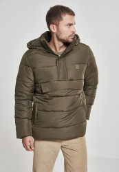 Pánska olivová bunda Urban Classics Pull Over Puffer Jacket darkolive