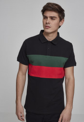 Pánska polokošeľa URBAN CLASSICS Color Block Panel Poloshirt black/green/fire red