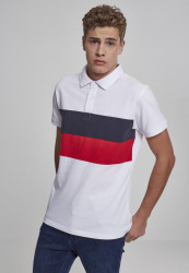 Pánska polokošeľa URBAN CLASSICS Color Block Panel Poloshirt  white/navy/fire red