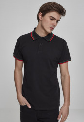 Pánska polokošeľa URBAN CLASSICS Double Stripe Poloshirt black/green/fire red