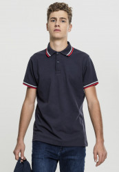 Pánska polokošeľa URBAN CLASSICS Double Stripe Poloshirt navy/white/fire red