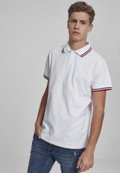 Pánska polokošeľa URBAN CLASSICS Double Stripe Poloshirt white/navy/fire red