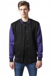 Pánska prechodná bunda URBAN CLASSICS 2-tone College Sweatjacket blk/pur