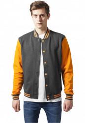 Pánska prechodná bunda URBAN CLASSICS 2-tone College Sweatjacket cha/ora