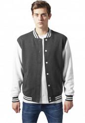 Pánska prechodná bunda URBAN CLASSICS 2-tone College Sweatjacket cha/wht