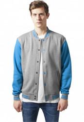 Pánska bunda URBAN CLASSICS 2-tone College Sweatjacket gry/tur