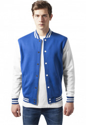 Pánska prechodná bunda URBAN CLASSICS 2-tone College Sweatjacket roy/wht