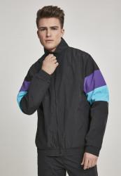 Pánska prechodná bunda Urban Classics 3-Tone Crinkle Track Jacket black/ultraviolet/aqua