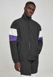 Pánska prechodná bunda Urban Classics 3-Tone Crinkle Track Jacket blk/wht/ultraviolet