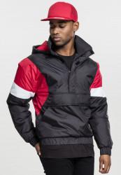 Pánska prechodná bunda URBAN CLASSICS 3-Tone Pull Over Jacket black/fire red/white