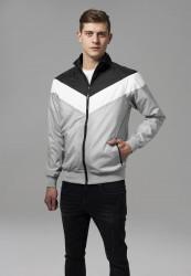 Pánska bunda URBAN CLASSICS Arrow Zip Jacket lightgrey/blk/wht
