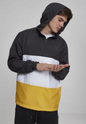 Pánska prechodná bunda URBAN CLASSICS Color Block Pull Over Jacket blk/chromeyellow/wht