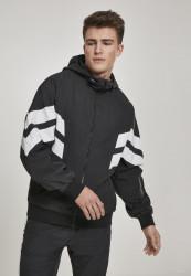 Pánska prechodná bunda URBAN CLASSICS Crinkle Panel Track Jacket blk/wht
