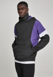 Pánska prechodná bunda Urban Classics Light 3-Tone Pull Over Jacket black/ultraviolet/white