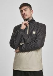 Pánska prechodná bunda Urban Classics Stand Up Collar Pull Over Jacket black/concrete