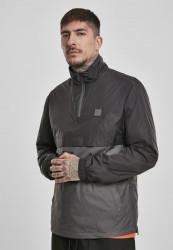 Pánska prechodná bunda Urban Classics Stand Up Collar Pull Over Jacket black/darkshadow