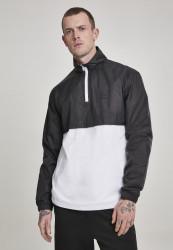 Pánska prechodná bunda Urban Classics Stand Up Collar Pull Over Jacket blk/wht