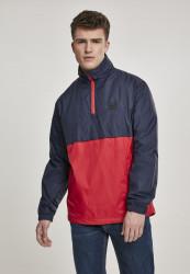 Pánska prechodná bunda Urban Classics Stand Up Collar Pull Over Jacket navy/fire red