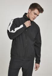 Pánska prechodná bunda URBAN CLASSICS Striped Sleeve Crinkle Track Jacket blk/wht